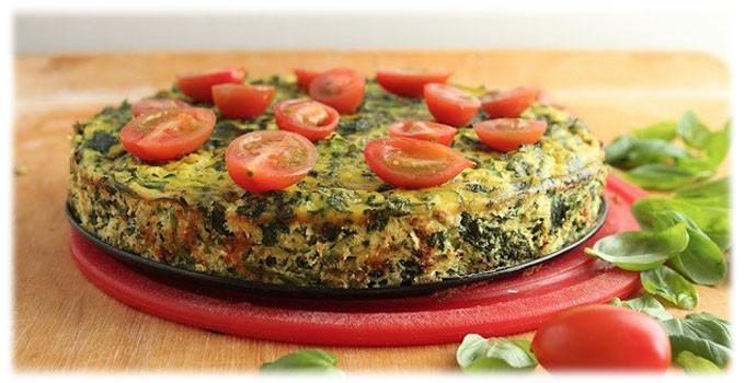 Рецепт омлета со шпинатом и помидорами