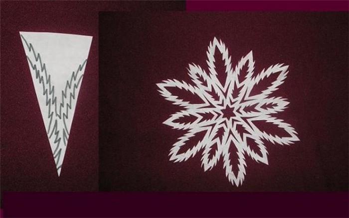 снежинки из бумаги .