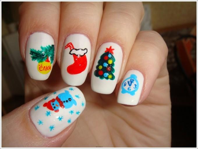 Новогодний дизайн ногтей дома фото