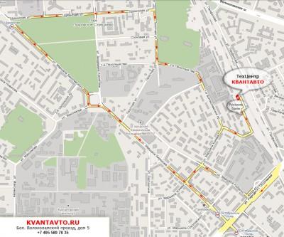 Схема проезда к КВАНТ-АВТО